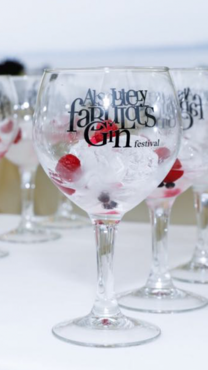 black absolutely fabulous gin festival glass