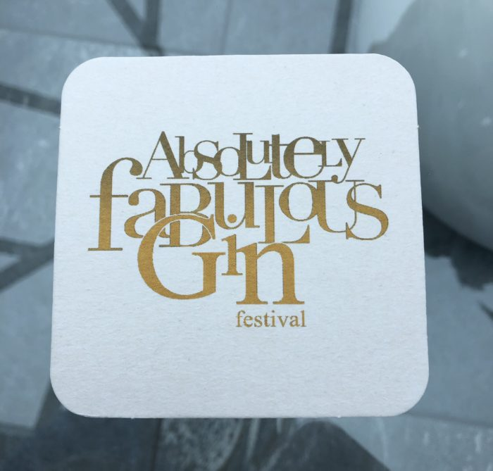 Fabulous Pink Gin brand coasters or the Absolutely Fabulous Gin Festival